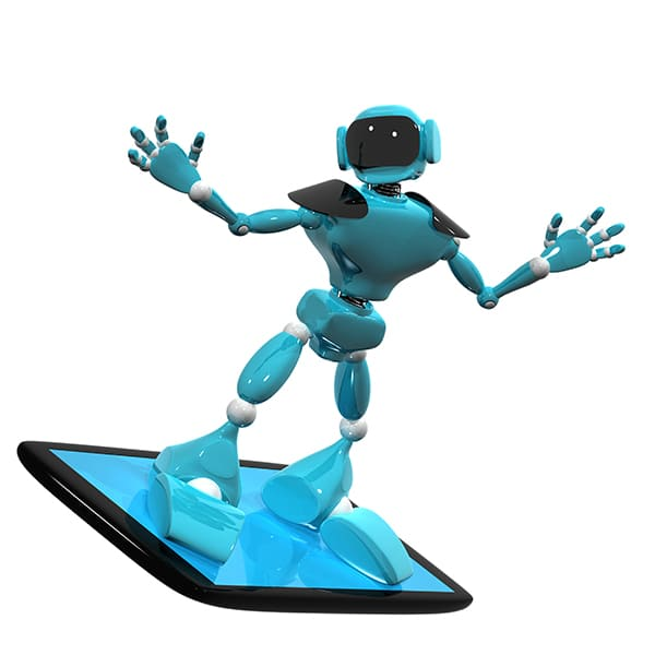 Robot standing on a tablet