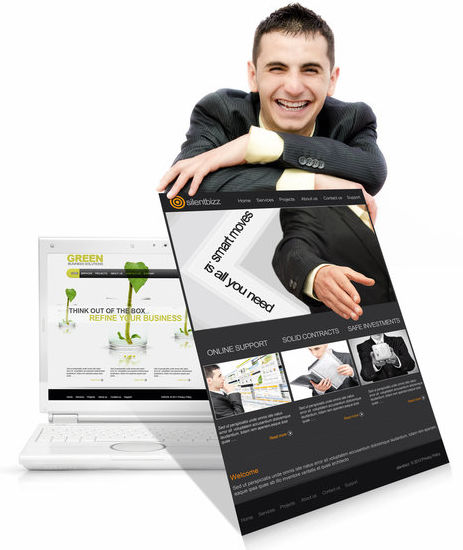 Business man smiling with services